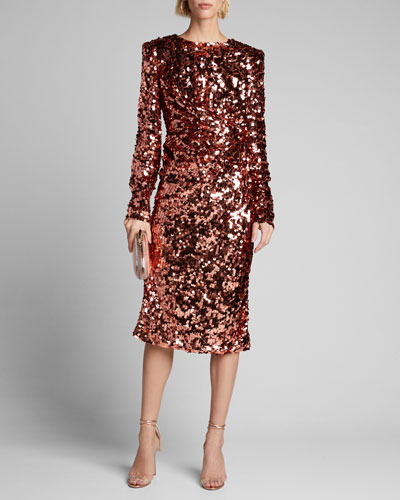 Ruched Long-Sleeve Sequin Dress