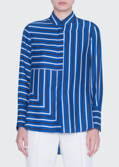 Striped Silk Crepe de Chine Tunic Blouse