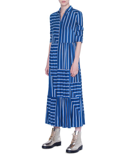 Striped Silk Crepe de Chine Maxi Dress