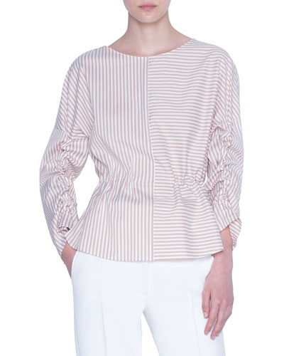 Patchwork Striped Poplin Blouse