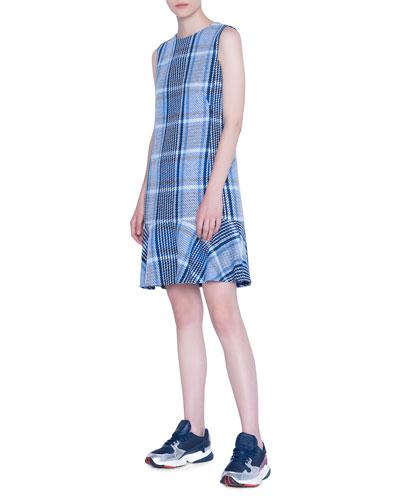 Square-Plaid Tweed Flounce-Hem Shift Dress