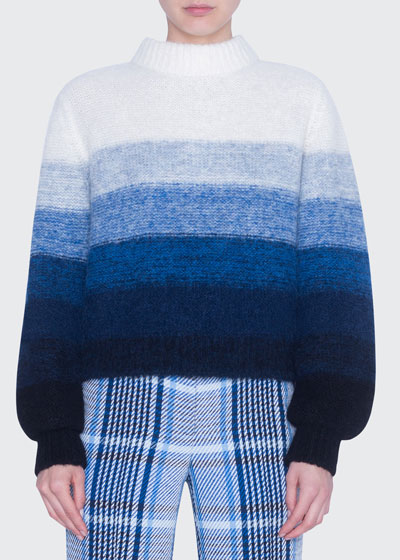 Colorblock Alpaca-Blend Mock-Neck Sweater