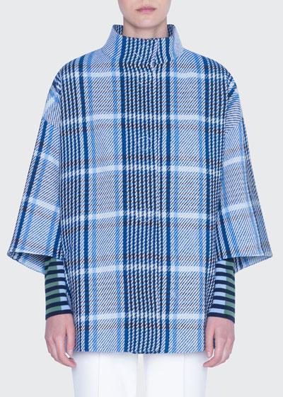 Mock-Neck Cotton Tweed  Coat