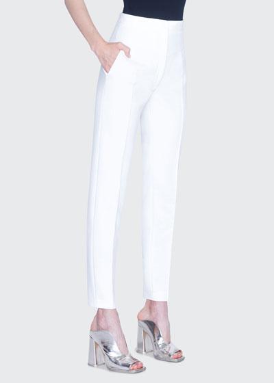 Freya Pebble Crepe High-Rise Pants, White