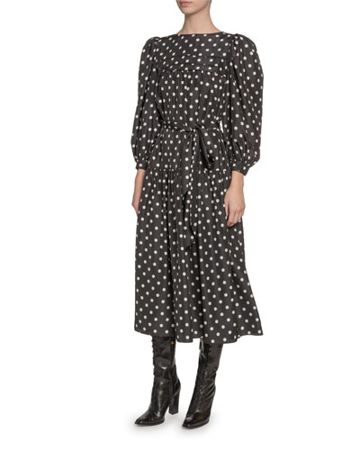 Silk Peasant-Sleeve Dress