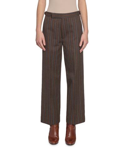 Striped Straight-Leg Pants