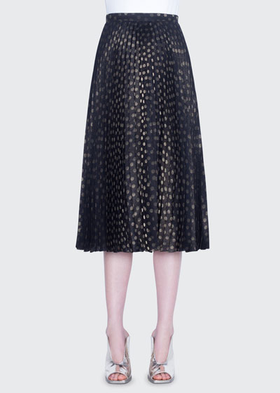 Dot-Jacquard Pleated Midi Skirt