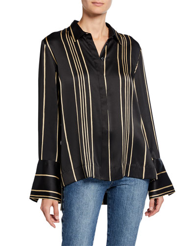 Striped Charmeuse Wide Cuff Shirt