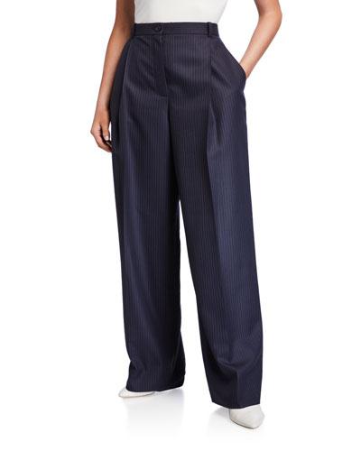 Pinstriped High-Rise Wide-Leg Pants