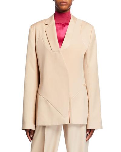 Seamed-Front Wool Blazer