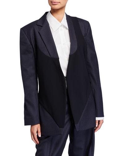 Pinstriped Vest-Detailed Blazer