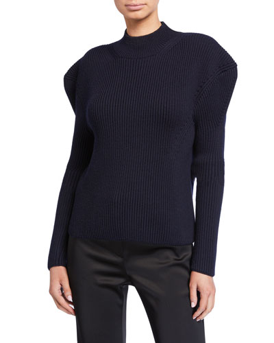 High-Neck Ribbed Wool Sweater