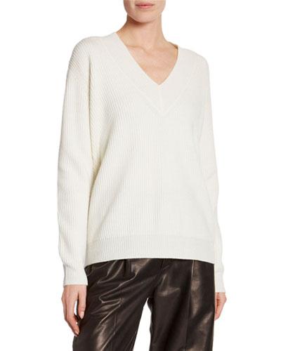 Cashmere Large-Ribbed V-Neck Sweater
