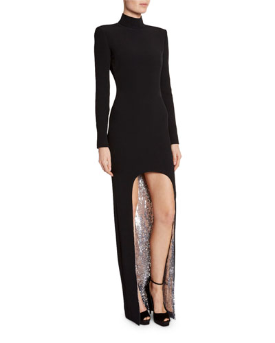 Sequin-Face High-Low Cady Long-Sleeve Gown