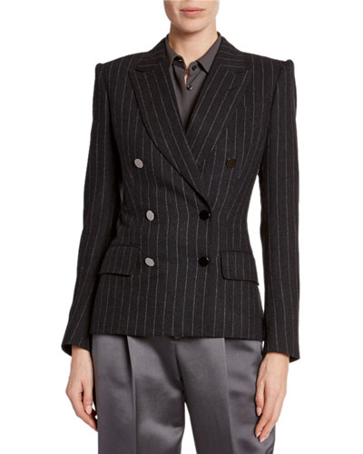 Double-Breasted Pinstriped-Flannel Jacket