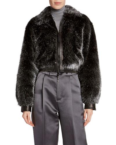 Foiled Faux-Fur Bomber Jacket