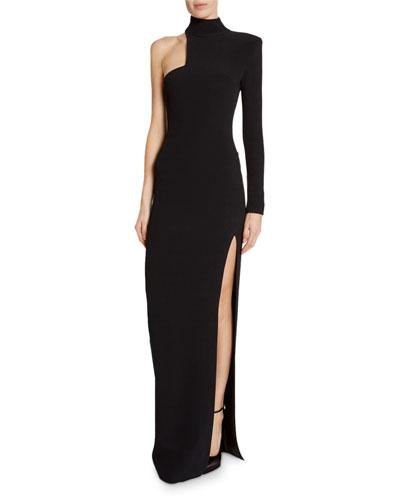 High-Neck Asymmetric Cutout Gown