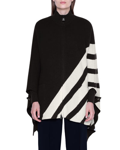 Cashmere Diagonal-Striped Cape Sweater
