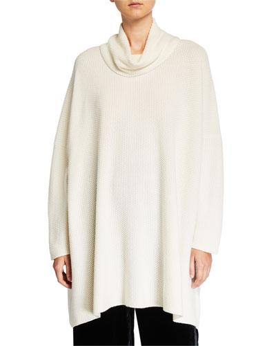 Cashmere Slim-Sleeve Cowl-Neck Sweater