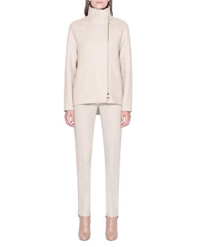 Cashmere Jersey Zip-Front Jacket