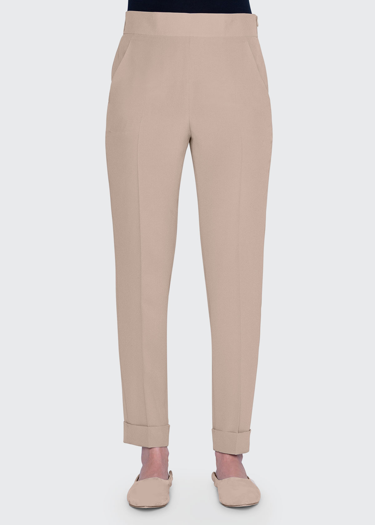 Akris CHRIS WIDE ELASTIC-BACK TAPERED PANTS