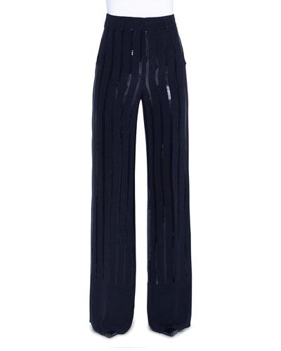 Sequin-Striped Silk Full-Leg Pants