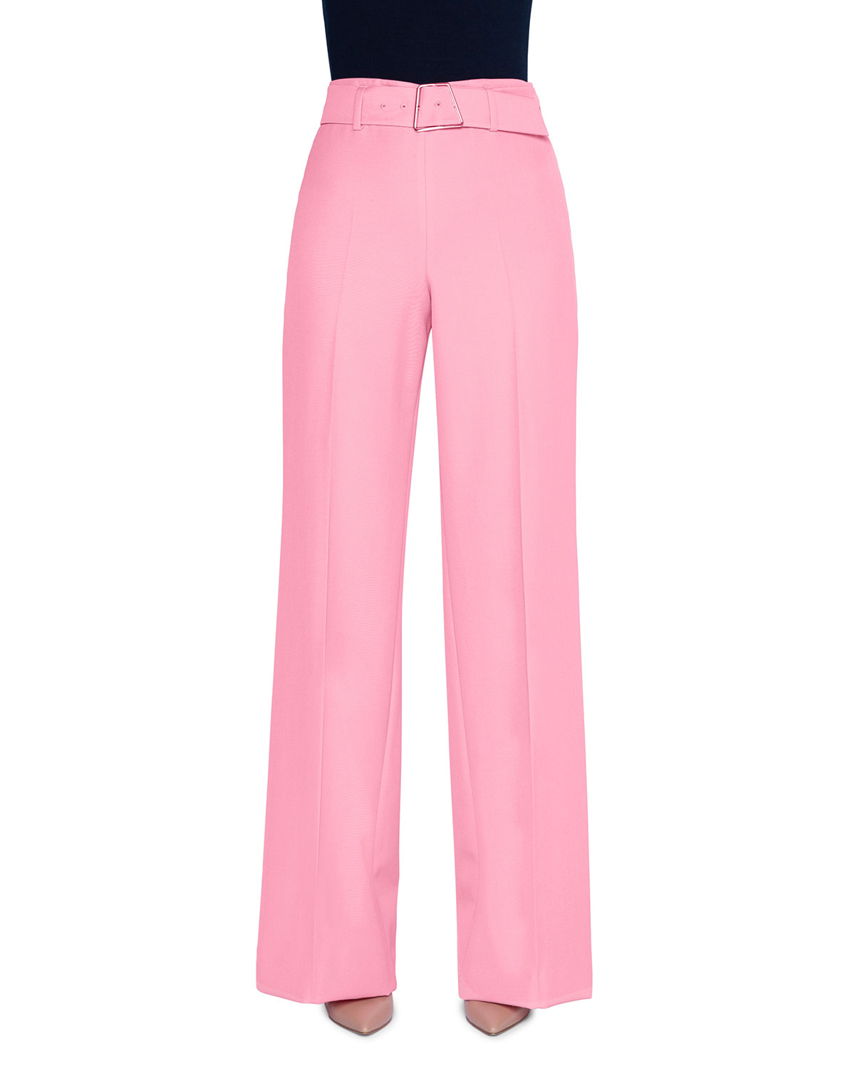 Akris Pants CREPE BELTED WIDE-LEG PANTS WITH GEOMETRIC-BUCKLE