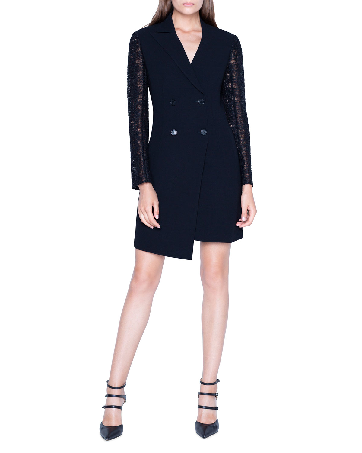 Akris Dresses DOUBLE-BREASTED DRESS W/ ST. GALLEN EMBROIDERED SLEEVES