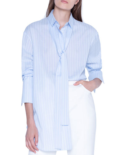 Striped Tie-Neck Oversized Shirt