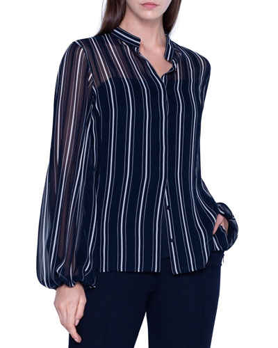 Striped Sheer Silk Button-Front Blouse