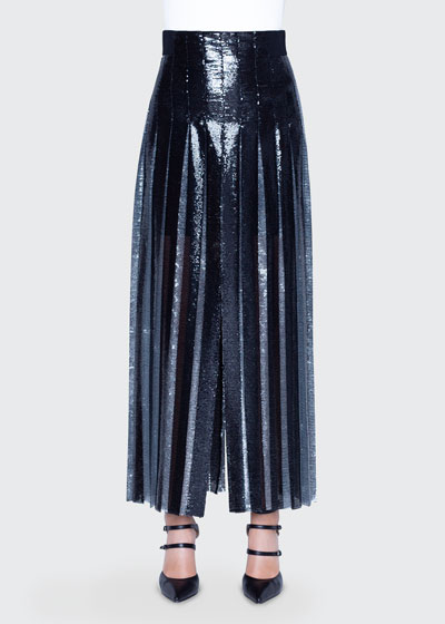 Two-Tone Sequined Pleated Skirt