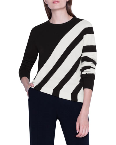 Cashmere Diagonal-Striped Pullover Sweater