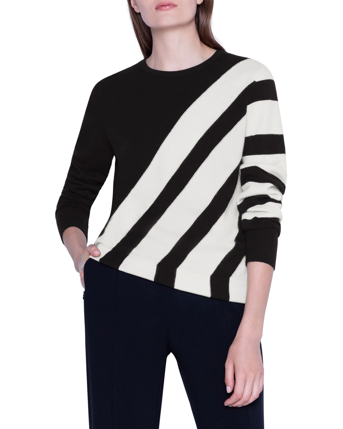 Akris Sweaters CASHMERE DIAGONAL-STRIPED PULLOVER SWEATER