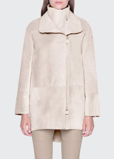 Suede High-Low Midi Jacket