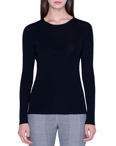 Jersey Zip-Front Sweater