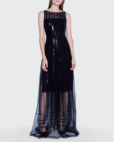 Sequined Gown with Sheer Skirt