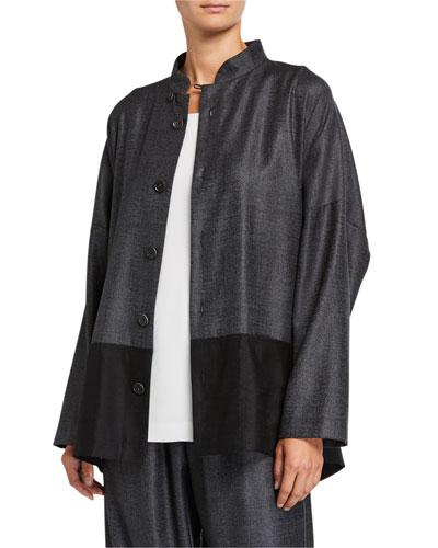 Wool-Silk Mandarin Jacket