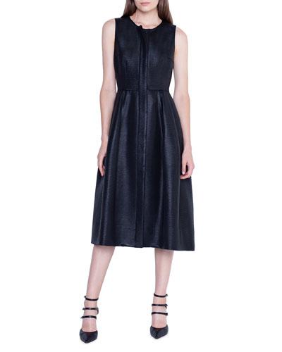 Sleeveless Placket-Front Dress