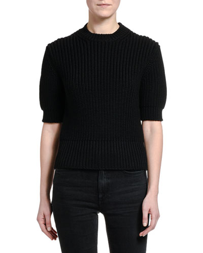Ribbed Wool Short-Sleeve Sweater