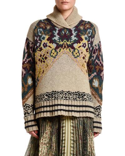 Chunky Floral Jacquard Turtleneck Sweater