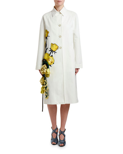 Flower-Applique Cotton Coat