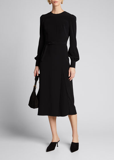 Tifa Stretch Crepe Long-Sleeve Belted Dress