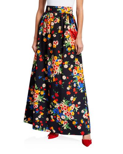 Drill Bouquet Maxi Skirt