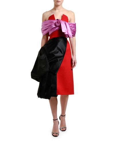 Colorblocked Off-the-Shoulder Dress