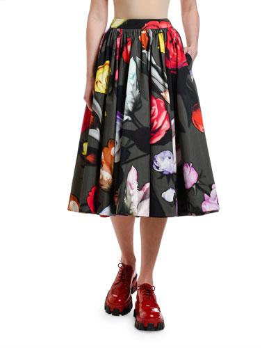 Beauty Flowers Printed Full Skirt