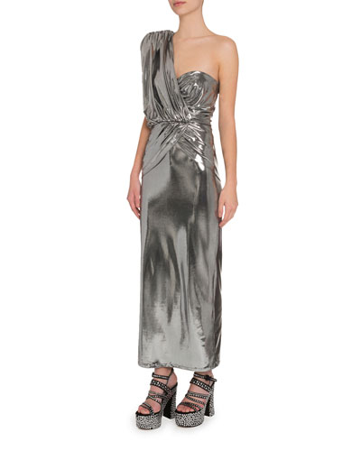 One-Shoulder Metallic Fluid Dress