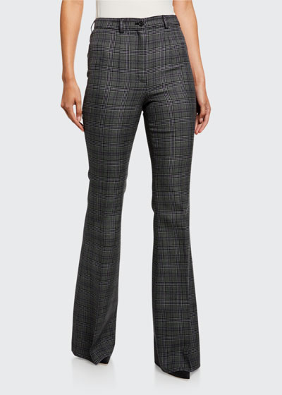 Glen-Plaid High-Rise Wool Flare Pants