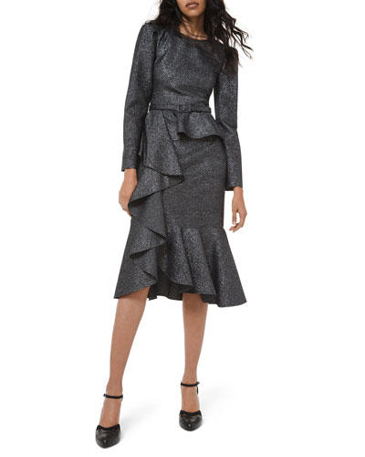 Long-Sleeve Asymmetric Cocktail Dress