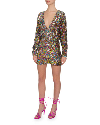Sequined V-Neck Long-Sleeve Mini Dress