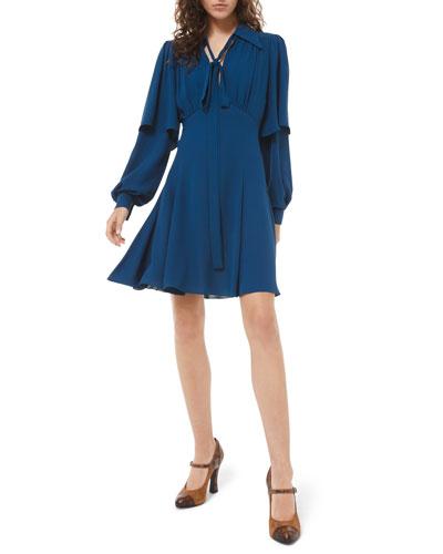 Draped Sleeve Flare Dress
